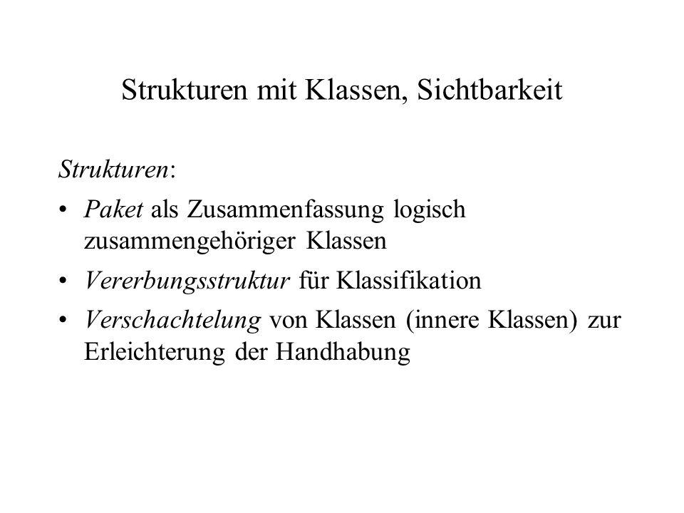 Strukturen mit Klassen, Sichtbarkeit Strukturen: Paket als Zusammenfassung logisch zusammengehöriger Klassen Vererbungsstruktur für Klassifikation Ver