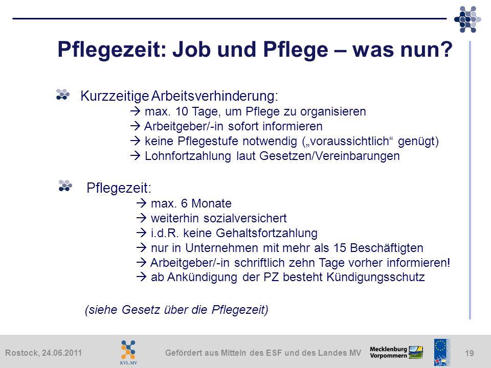 Gefördert aus Mitteln des ESF und des Landes MVRostock, 24.06.2011 19 Pflegezeit: Job und Pflege – was nun? Kurzzeitige Arbeitsverhinderung: max. 10 T