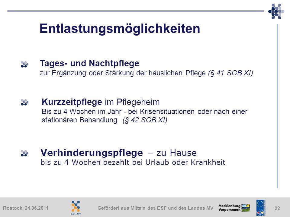 Gefördert aus Mitteln des ESF und des Landes MVRostock, 24.06.2011 22 Entlastungsmöglichkeiten Tages- und Nachtpflege zur Ergänzung oder Stärkung der