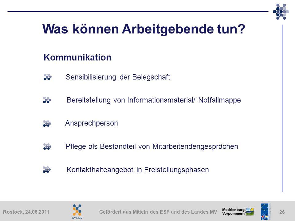 Gefördert aus Mitteln des ESF und des Landes MVRostock, 24.06.2011 26 Was können Arbeitgebende tun? Kommunikation Bereitstellung von Informationsmater