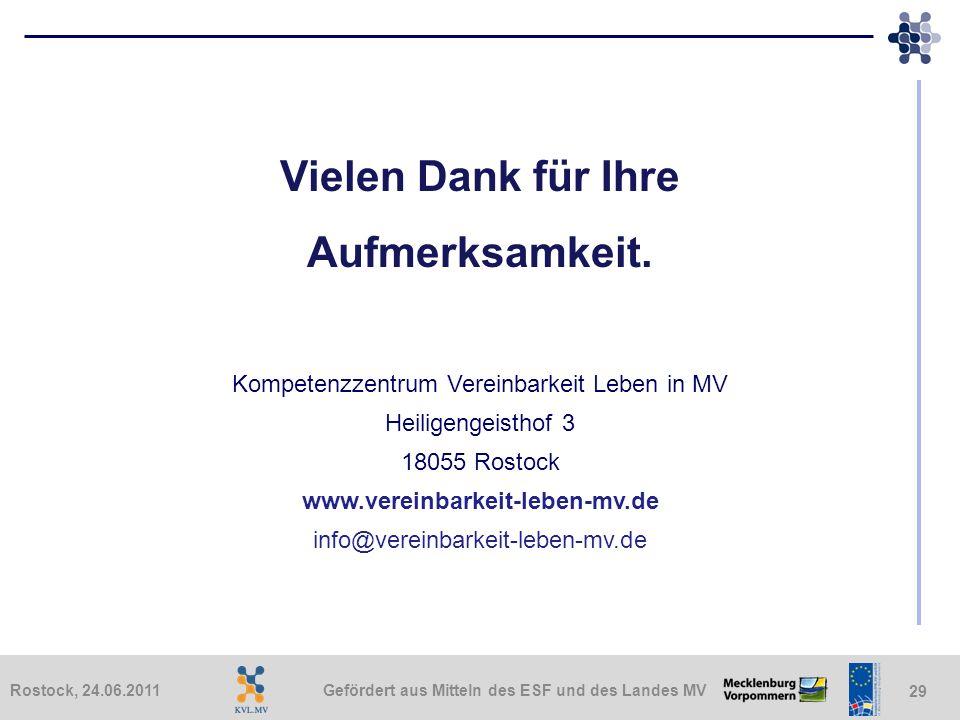 Gefördert aus Mitteln des ESF und des Landes MVRostock, 24.06.2011 29 Vielen Dank für Ihre Aufmerksamkeit. Kompetenzzentrum Vereinbarkeit Leben in MV
