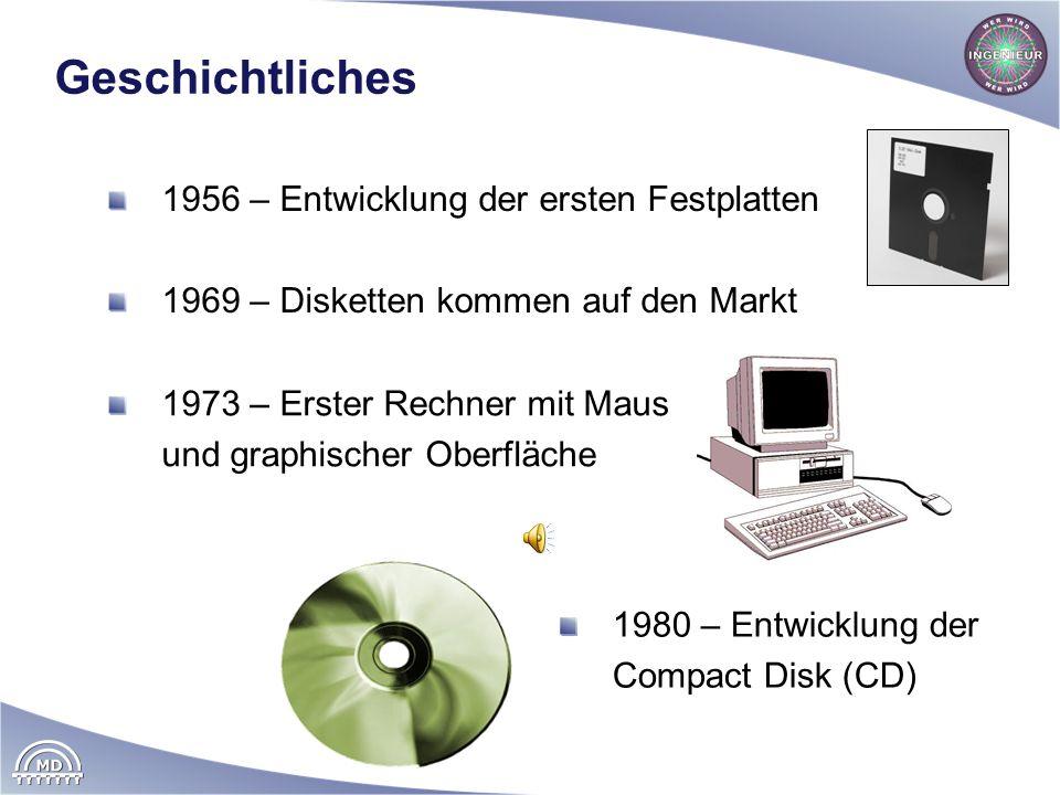 Geschichtliches 1956 – Entwicklung der ersten Festplatten 1969 – Disketten kommen auf den Markt 1973 – Erster Rechner mit Maus und graphischer Oberflä
