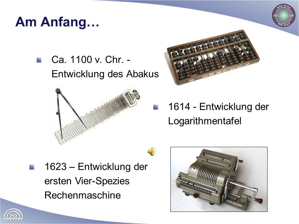 Geschichtliches 1703 – Leibniz erfindet das duale Zahlensystem, Grundlage der modernen Computer Zahlendarstellung nur durch Folge von Nullen und Einsen Einfache Übertragung auf Elektronik: Spannung liegt an 1 Spannung liegt nicht an 0 Beispiel: 1101 Dezimalsystem: 1 1 0 1 (10) Ziffer 1 1 0 1 Wertigkeit 1000 100 10 1 1 1 0 1(10) = = 1*1000 + 1*100 + 0*10 + 1*1 Dualsystem: 1 1 0 1 (2) Ziffer (Bit) 1 1 0 1 Wertigkeit 8 4 2 1 1 1 0 1(2) = 1*8 + 1*4 + 0*2 + 1*1 = 13 (10)