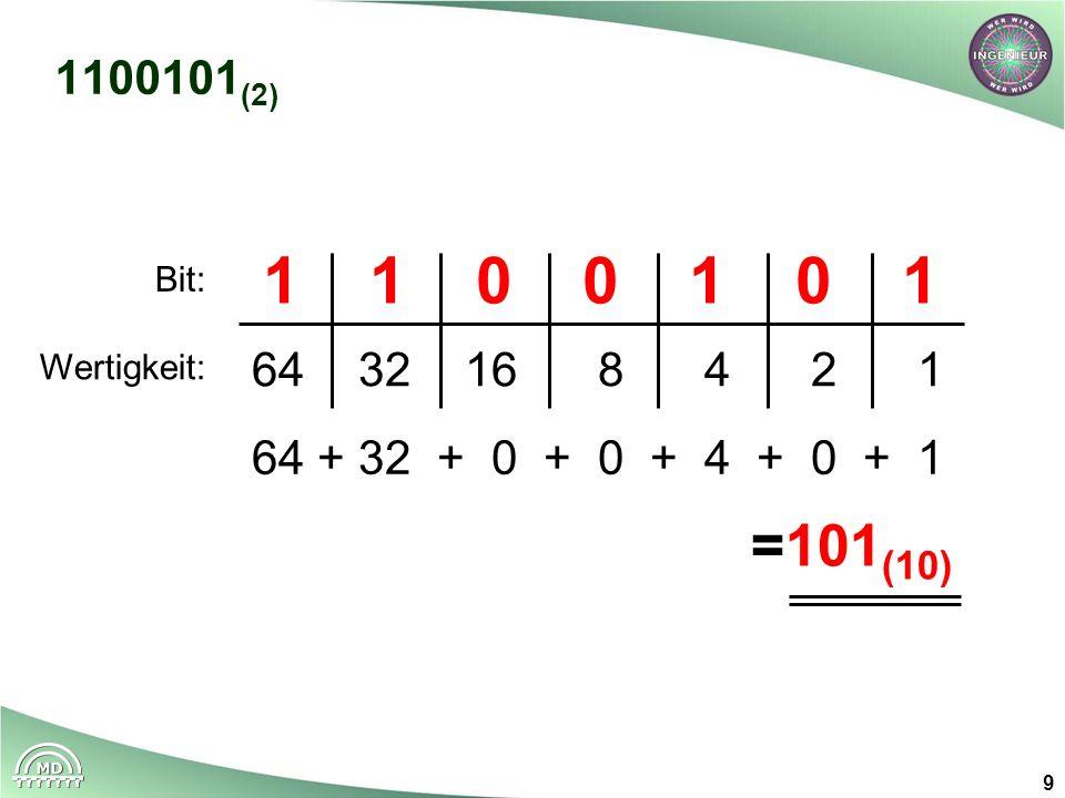 9 1100101 (2) 11001011100101 643216 8 4 2 1 64 + 32 + 0 + 0 + 4 + 0 + 1 =101 (10) Wertigkeit: Bit: