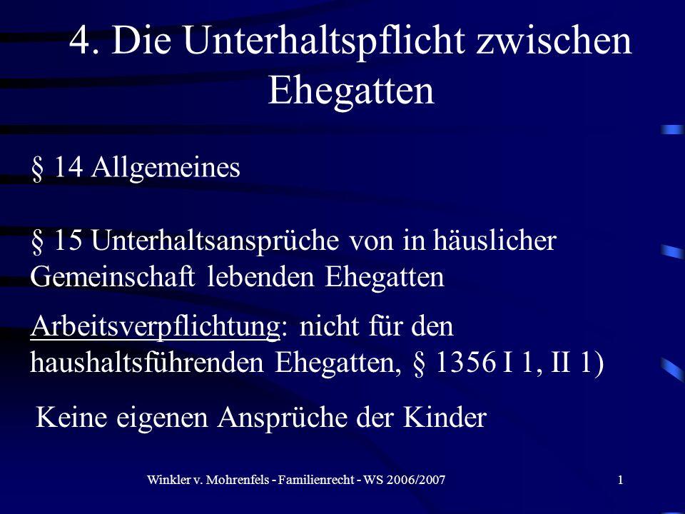 Winkler v. Mohrenfels - Familienrecht - WS 2006/20071 § 14 Allgemeines Arbeitsverpflichtung: nicht für den haushaltsführenden Ehegatten, § 1356 I 1, I