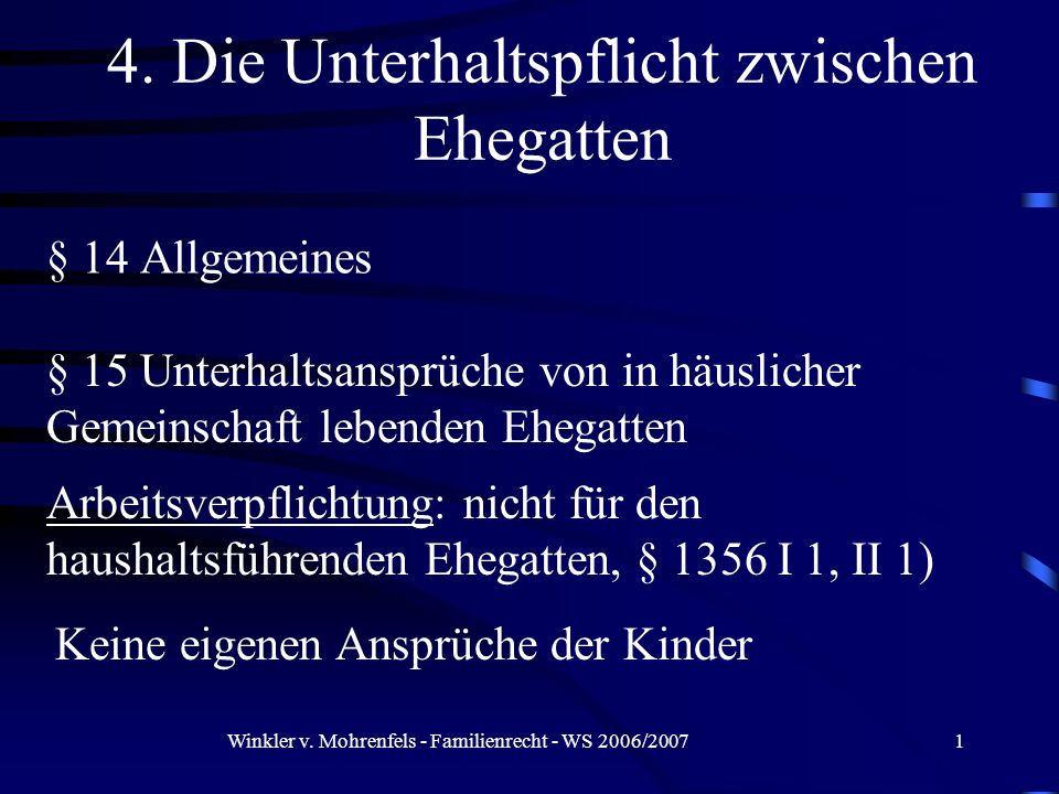 Winkler v.Mohrenfels - Familienrecht - WS 2006/200712 III.