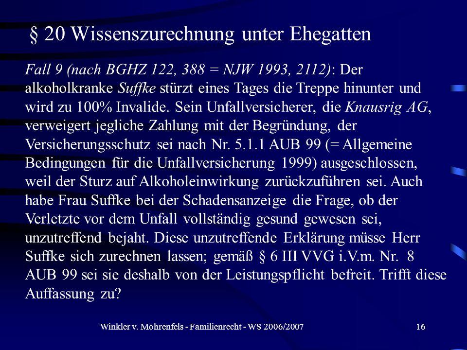 Winkler v. Mohrenfels - Familienrecht - WS 2006/200716 § 20 Wissenszurechnung unter Ehegatten Fall 9 (nach BGHZ 122, 388 = NJW 1993, 2112): Der alkoho