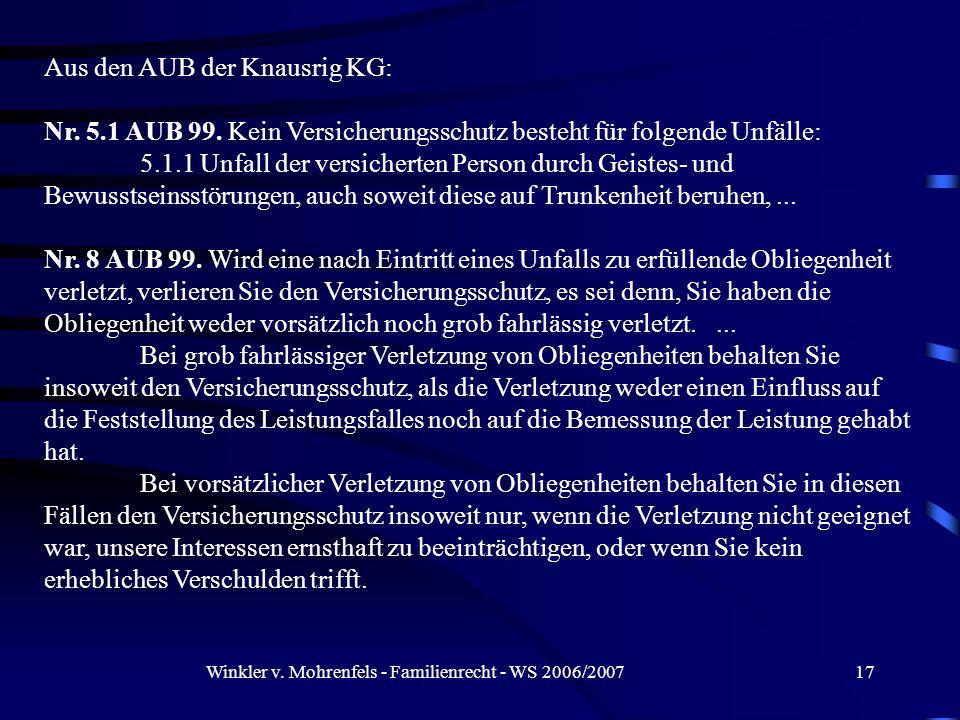 Winkler v. Mohrenfels - Familienrecht - WS 2006/200717 Aus den AUB der Knausrig KG: Nr. 5.1 AUB 99. Kein Versicherungsschutz besteht für folgende Unfä