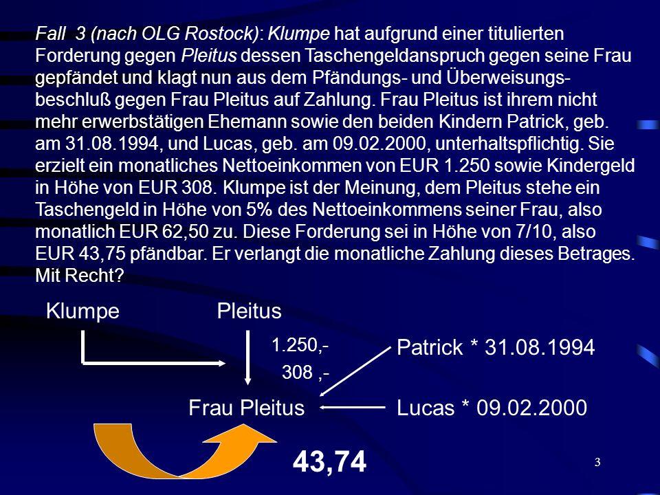 3 Fall 3 (nach OLG Rostock): Klumpe hat aufgrund einer titulierten Forderung gegen Pleitus dessen Taschengeldanspruch gegen seine Frau gepfändet und klagt nun aus dem Pfändungs- und Überweisungs- beschluß gegen Frau Pleitus auf Zahlung.