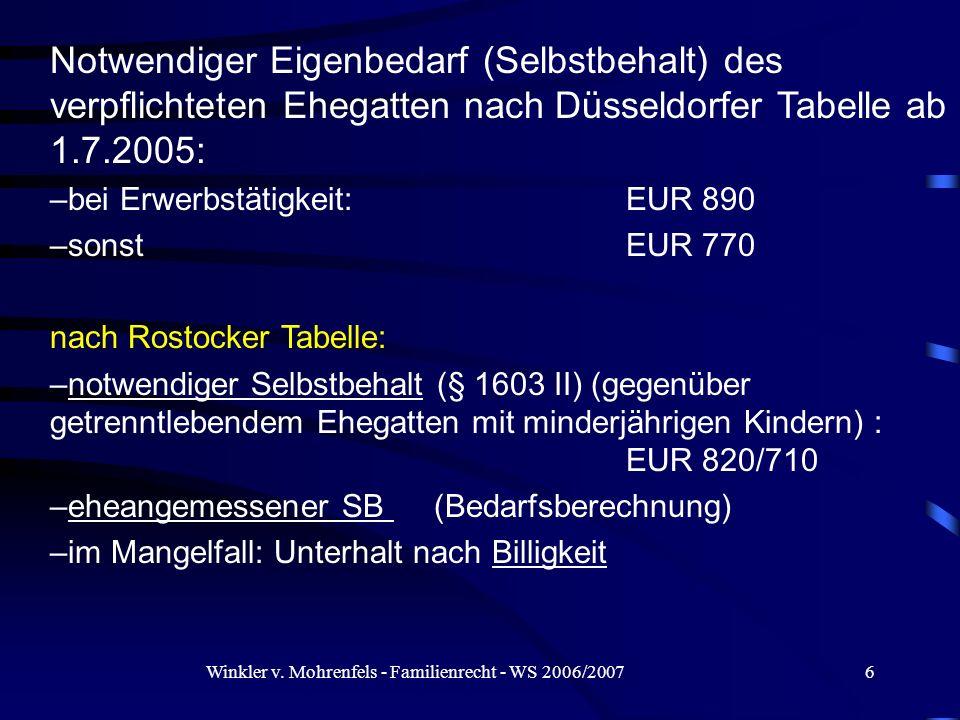 Winkler v. Mohrenfels - Familienrecht - WS 2006/20076 Notwendiger Eigenbedarf (Selbstbehalt) des verpflichteten Ehegatten nach Düsseldorfer Tabelle ab