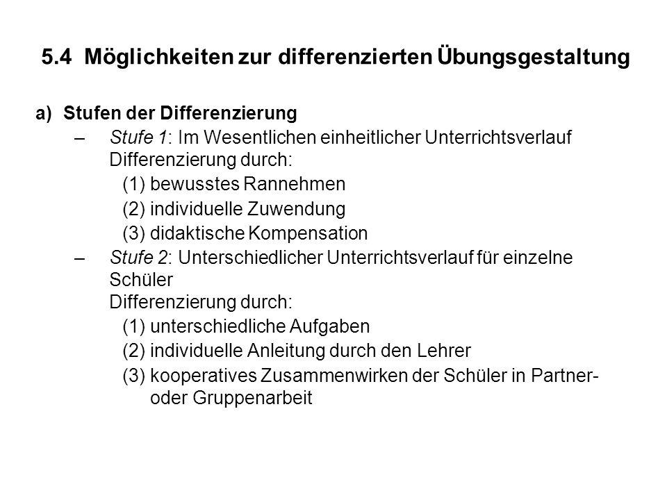 b)Möglichkeiten zur Aufgabendifferenzierung: Differenzierung nach: (1)Anzahl der zu lösenden Aufgaben (2)Schwierigkeitsgrad (3)Inhalt (4)Lösungsweg c)Hinweise zur Aufgabendifferenzierung (1)Bei Differenzierung nach Schwierigkeitsgrad besser Selbstwahl von Aufgaben als Zuweisung; dazu Aufgaben nach Schwierigkeit ordnen (2)Selbstkontrolle ermöglichen durch Angabe von Lösungen in vertauschter Reihenfolge (3)Differenzierung durch Abwandeln von Lehrbuchaufgaben nur Teilaufgaben bearbeiten lassen Verallgemeinerungen anregen verschiedene Lösungswege anregen Lösungshinweise bei Bedarf geben