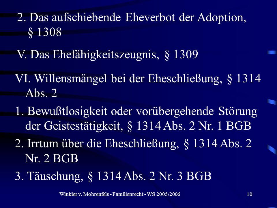 Winkler v. Mohrenfels - Familienrecht - WS 2005/200610 2. Das aufschiebende Eheverbot der Adoption, § 1308 V. Das Ehefähigkeitszeugnis, § 1309 VI. Wil