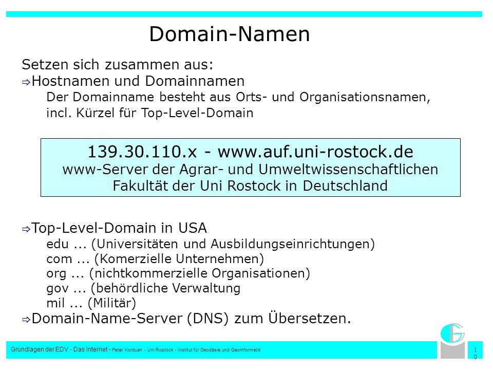 1010 Grundlagen der EDV - Das Internet - Peter Korduan - Uni Rostock - Institut für Geodäsie und Geoinformatik Domain-Namen Setzen sich zusammen aus: