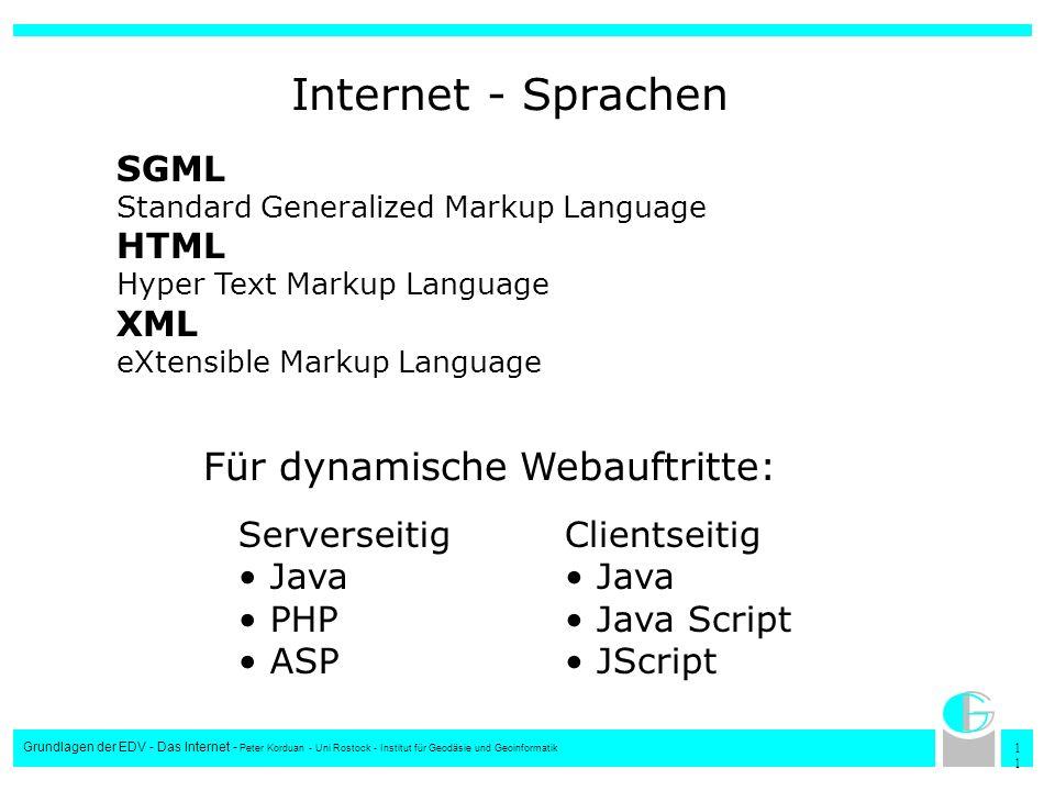 1 Grundlagen der EDV - Das Internet - Peter Korduan - Uni Rostock - Institut für Geodäsie und Geoinformatik Internet - Sprachen SGML Standard Generali
