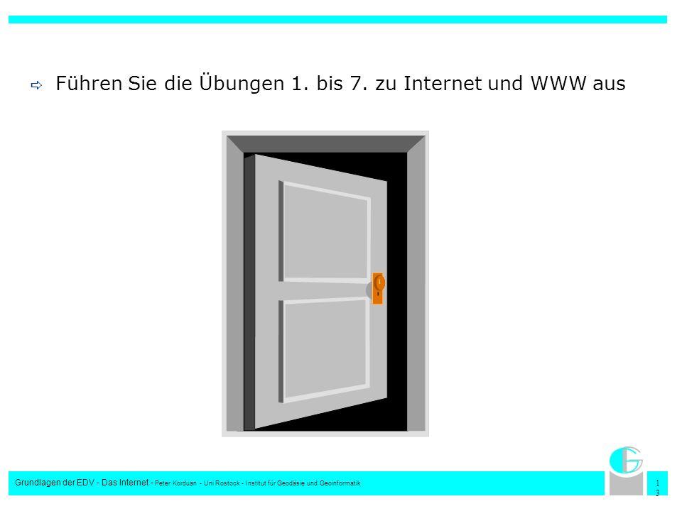 1313 Grundlagen der EDV - Das Internet - Peter Korduan - Uni Rostock - Institut für Geodäsie und Geoinformatik Führen Sie die Übungen 1. bis 7. zu Int