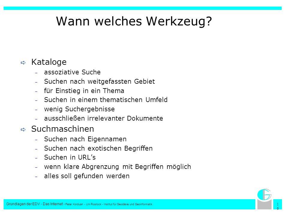 1616 Grundlagen der EDV - Das Internet - Peter Korduan - Uni Rostock - Institut für Geodäsie und Geoinformatik Wann welches Werkzeug? Kataloge – assoz