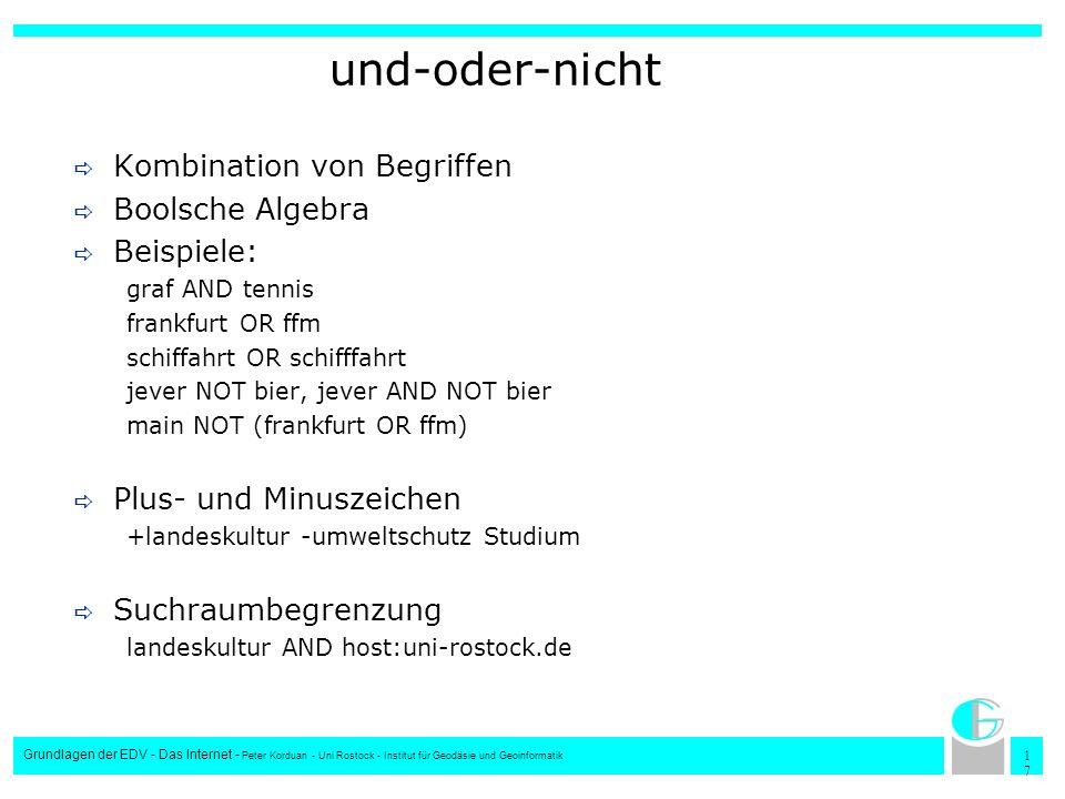 1717 Grundlagen der EDV - Das Internet - Peter Korduan - Uni Rostock - Institut für Geodäsie und Geoinformatik und-oder-nicht Kombination von Begriffe