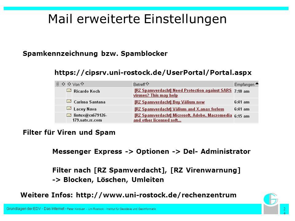 2424 Grundlagen der EDV - Das Internet - Peter Korduan - Uni Rostock - Institut für Geodäsie und Geoinformatik Mail erweiterte Einstellungen Spamkennz