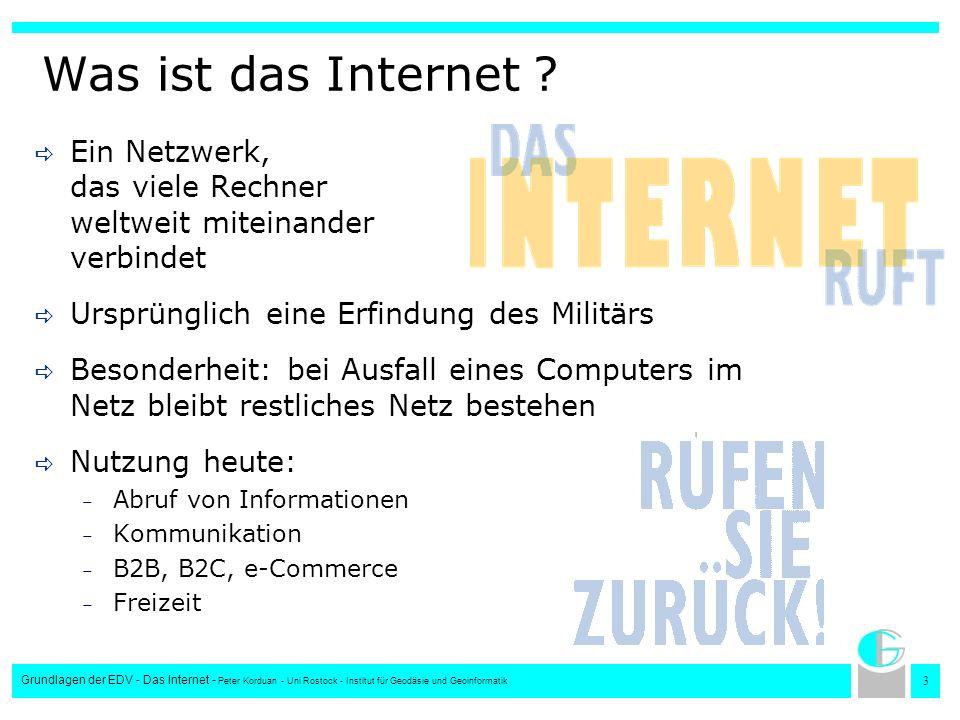 3 Grundlagen der EDV - Das Internet - Peter Korduan - Uni Rostock - Institut für Geodäsie und Geoinformatik Was ist das Internet ? Ein Netzwerk, das v