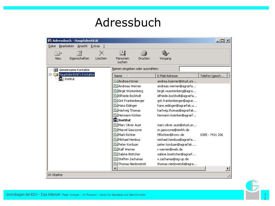 3030 Grundlagen der EDV - Das Internet - Peter Korduan - Uni Rostock - Institut für Geodäsie und Geoinformatik Adressbuch
