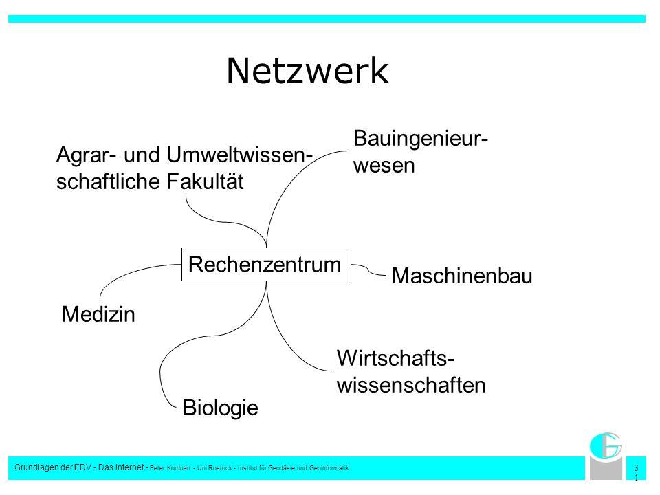 3131 Grundlagen der EDV - Das Internet - Peter Korduan - Uni Rostock - Institut für Geodäsie und Geoinformatik Netzwerk Rechenzentrum Agrar- und Umwel