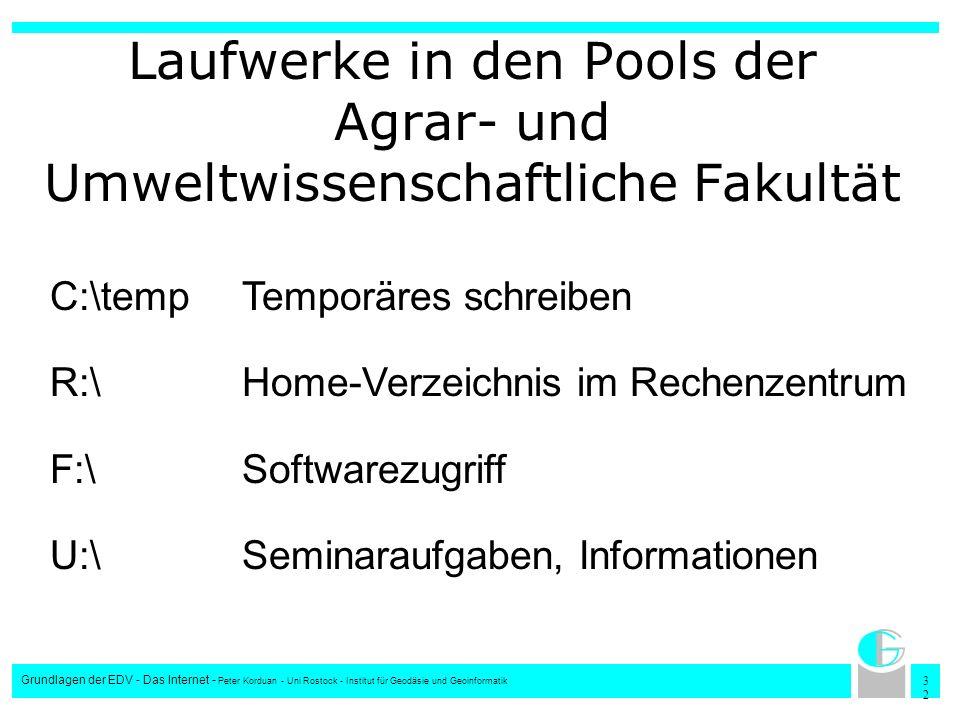 3232 Grundlagen der EDV - Das Internet - Peter Korduan - Uni Rostock - Institut für Geodäsie und Geoinformatik Laufwerke in den Pools der Agrar- und U