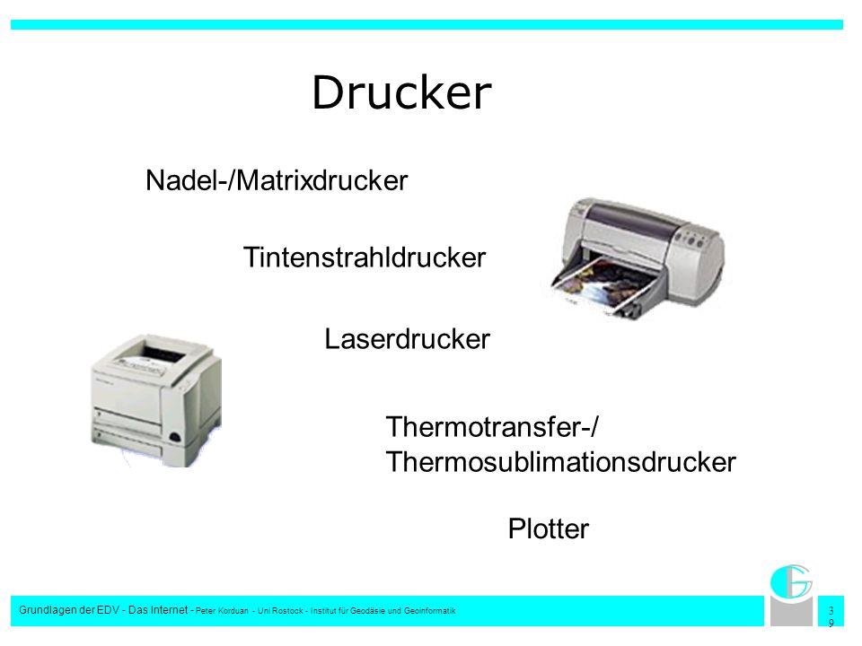 3939 Grundlagen der EDV - Das Internet - Peter Korduan - Uni Rostock - Institut für Geodäsie und Geoinformatik Drucker Nadel-/Matrixdrucker Tintenstra