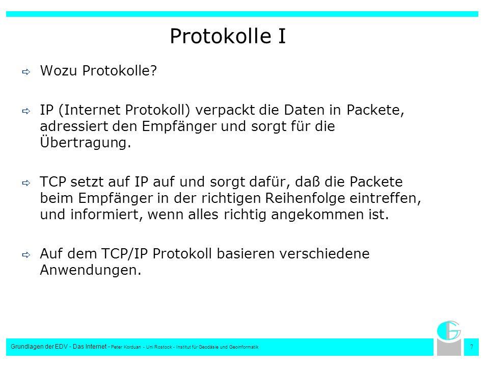 7 Grundlagen der EDV - Das Internet - Peter Korduan - Uni Rostock - Institut für Geodäsie und Geoinformatik Protokolle I Wozu Protokolle? IP (Internet