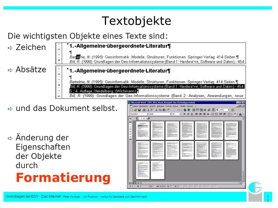 1010 Grundlagen der EDV - Das Internet - Peter Korduan - Uni Rostock - Institut für Geodäsie und Geoinformatik Textobjekte Die wichtigsten Objekte ein