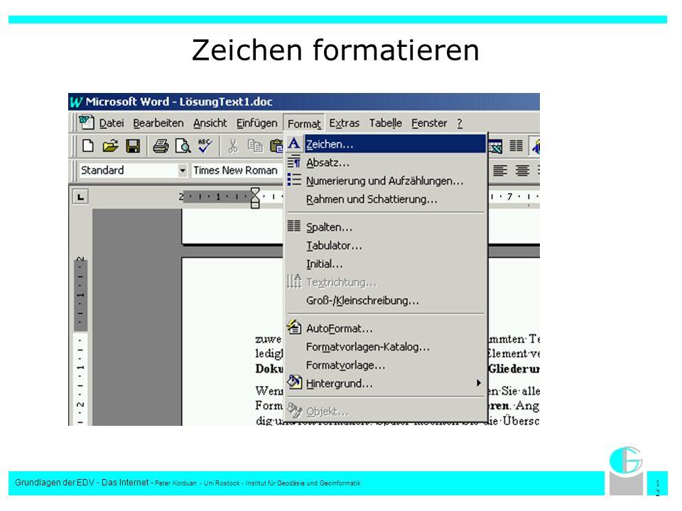 1212 Grundlagen der EDV - Das Internet - Peter Korduan - Uni Rostock - Institut für Geodäsie und Geoinformatik Zeichen formatieren