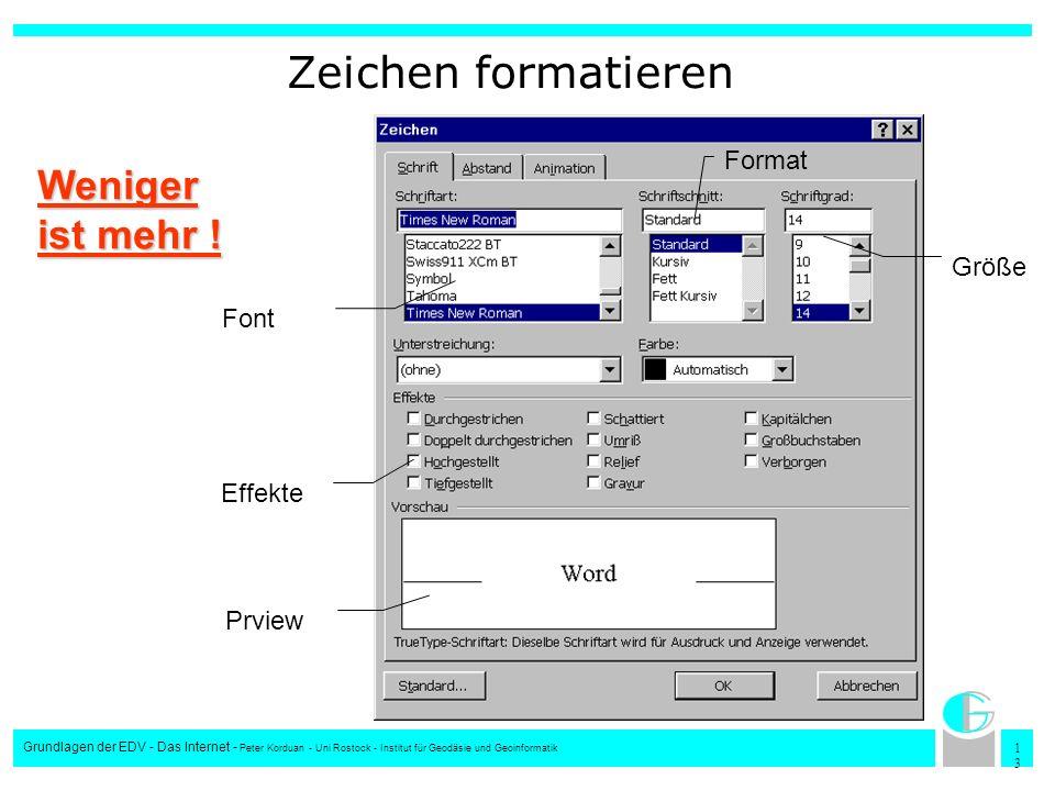 1313 Grundlagen der EDV - Das Internet - Peter Korduan - Uni Rostock - Institut für Geodäsie und Geoinformatik Zeichen formatieren Font Format Größe E