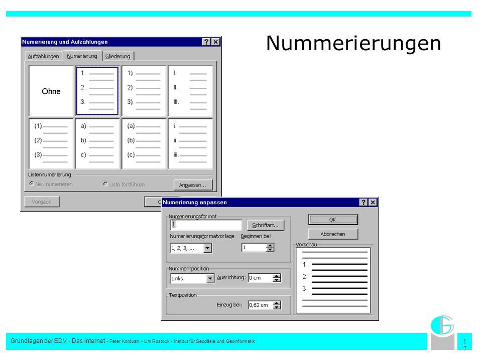 1717 Grundlagen der EDV - Das Internet - Peter Korduan - Uni Rostock - Institut für Geodäsie und Geoinformatik Nummerierungen
