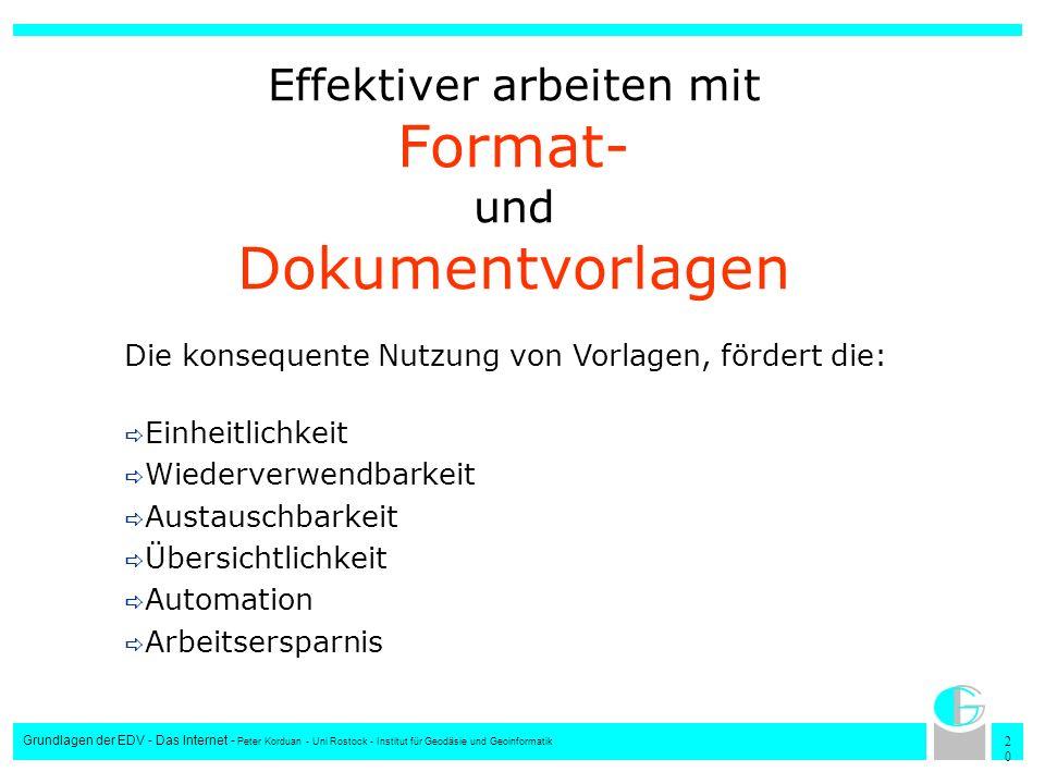 2020 Grundlagen der EDV - Das Internet - Peter Korduan - Uni Rostock - Institut für Geodäsie und Geoinformatik Effektiver arbeiten mit Format- und Dok