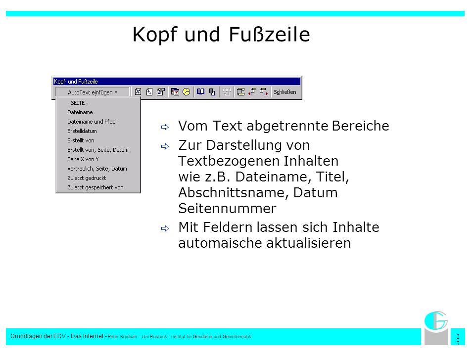 2727 Grundlagen der EDV - Das Internet - Peter Korduan - Uni Rostock - Institut für Geodäsie und Geoinformatik Kopf und Fußzeile Vom Text abgetrennte