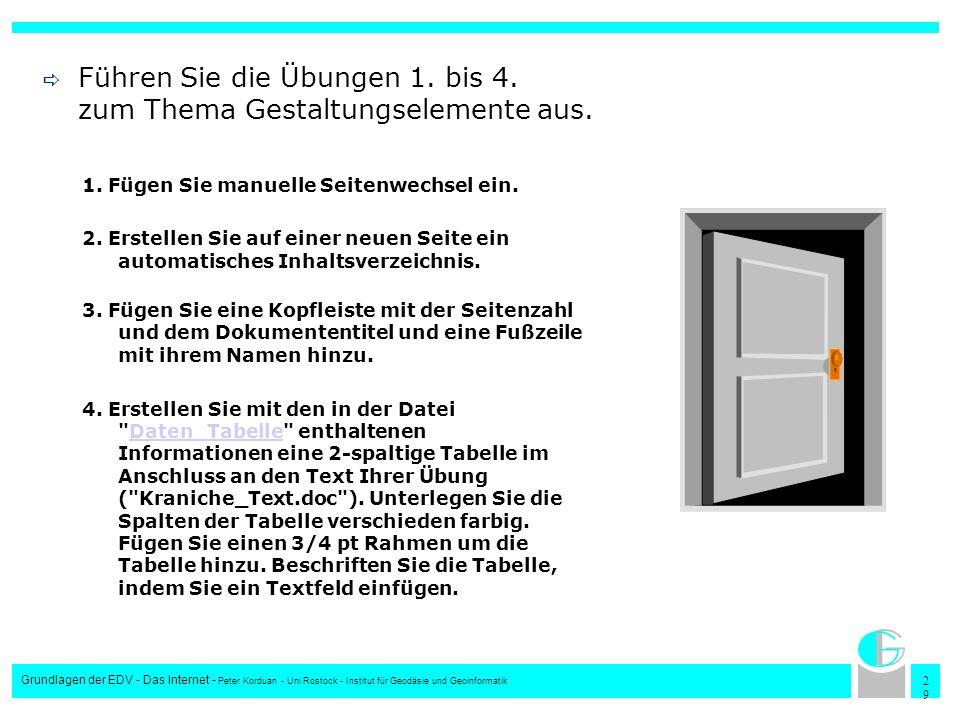 2929 Grundlagen der EDV - Das Internet - Peter Korduan - Uni Rostock - Institut für Geodäsie und Geoinformatik Führen Sie die Übungen 1. bis 4. zum Th