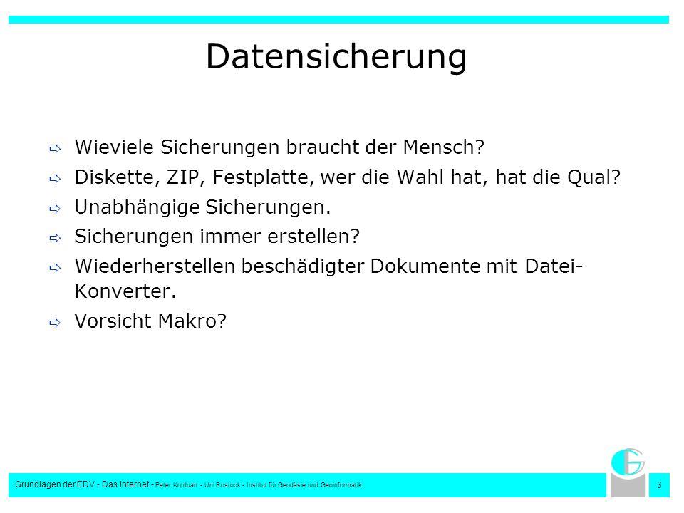 2424 Grundlagen der EDV - Das Internet - Peter Korduan - Uni Rostock - Institut für Geodäsie und Geoinformatik Die Dokumentenvorlage Häufig verwendete Formatierungen (z.B.