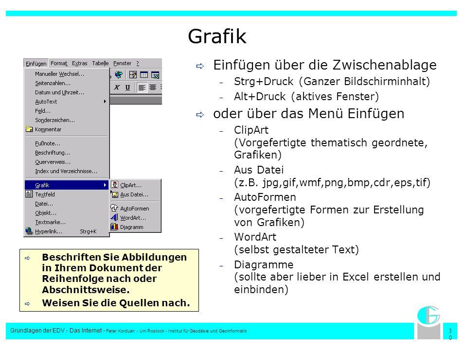 3030 Grundlagen der EDV - Das Internet - Peter Korduan - Uni Rostock - Institut für Geodäsie und Geoinformatik Grafik Einfügen über die Zwischenablage