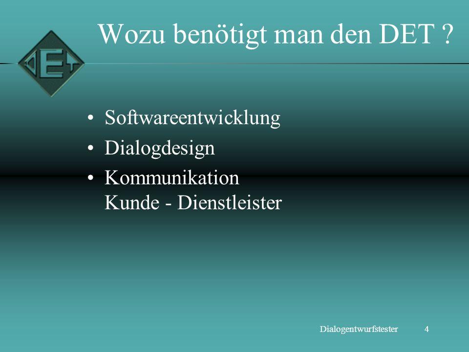 4Dialogentwurfstester Wozu benötigt man den DET ? Softwareentwicklung Dialogdesign Kommunikation Kunde - Dienstleister
