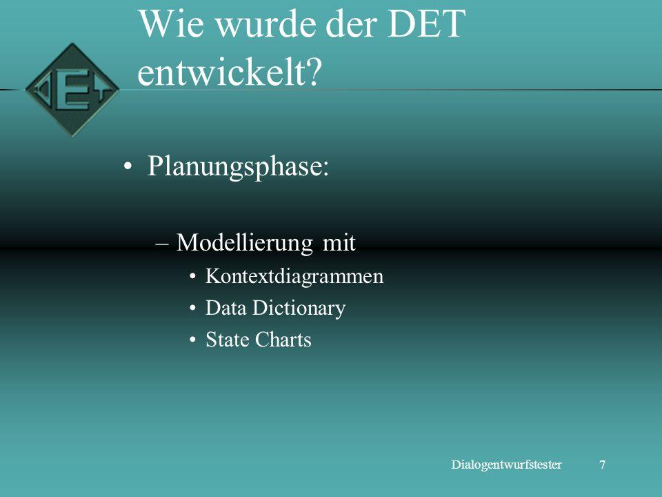7Dialogentwurfstester Wie wurde der DET entwickelt? Planungsphase: –Modellierung mit Kontextdiagrammen Data Dictionary State Charts