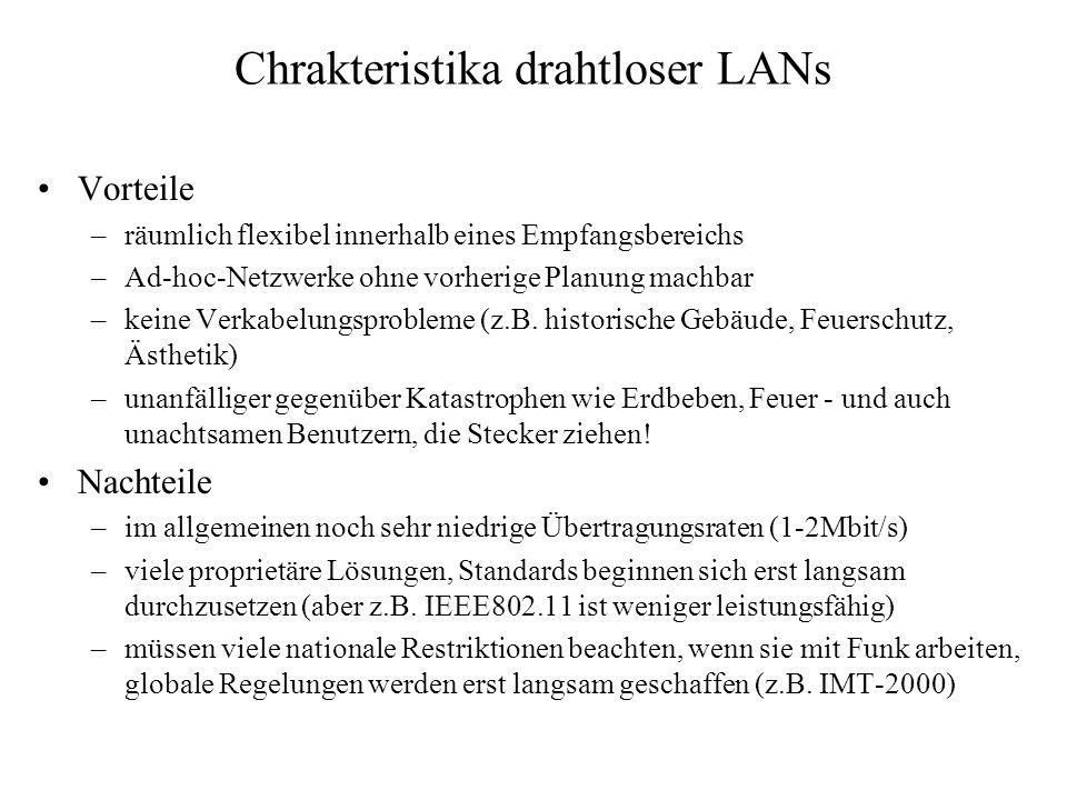 Chrakteristika drahtloser LANs Vorteile –räumlich flexibel innerhalb eines Empfangsbereichs –Ad-hoc-Netzwerke ohne vorherige Planung machbar –keine Ve