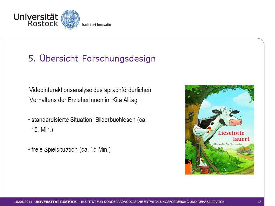 Videointeraktionsanalyse des sprachförderlichen Verhaltens der ErzieherInnen im Kita Alltag standardisierte Situation: Bilderbuchlesen (ca. 15. Min.)