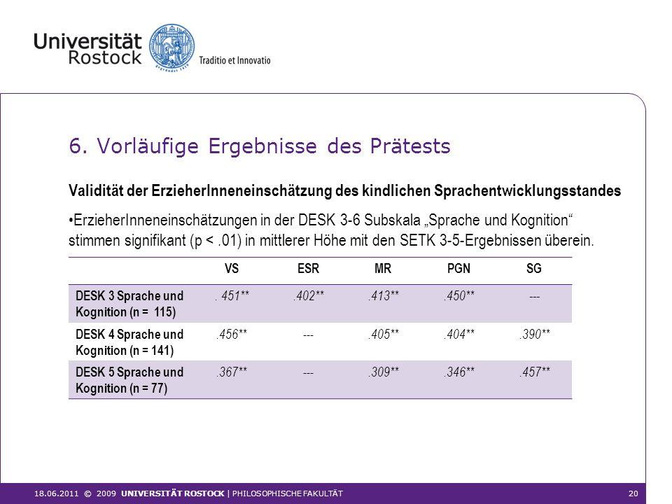 6. Vorläufige Ergebnisse des Prätests ErzieherInneneinschätzungen in der DESK 3-6 Subskala Sprache und Kognition stimmen signifikant (p <.01) in mittl