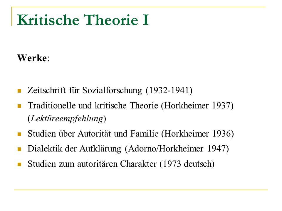 Kritische Theorie I Werke: Zeitschrift für Sozialforschung (1932-1941) Traditionelle und kritische Theorie (Horkheimer 1937) (Lektüreempfehlung) Studi