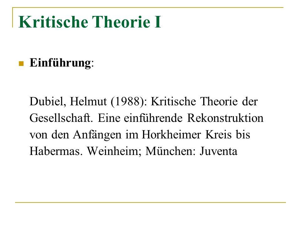 Kritische Theorie I Einführung: Dubiel, Helmut (1988): Kritische Theorie der Gesellschaft. Eine einführende Rekonstruktion von den Anfängen im Horkhei