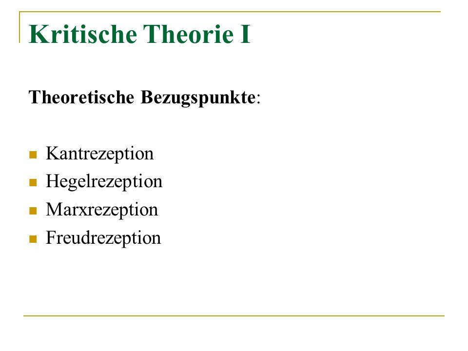 Kritische Theorie I Theoretische Bezugspunkte: Kantrezeption Hegelrezeption Marxrezeption Freudrezeption