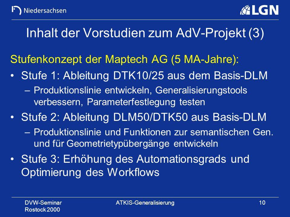DVW-Seminar Rostock 2000 ATKIS-Generalisierung10 Inhalt der Vorstudien zum AdV-Projekt (3) Stufenkonzept der Maptech AG (5 MA-Jahre): Stufe 1: Ableitu