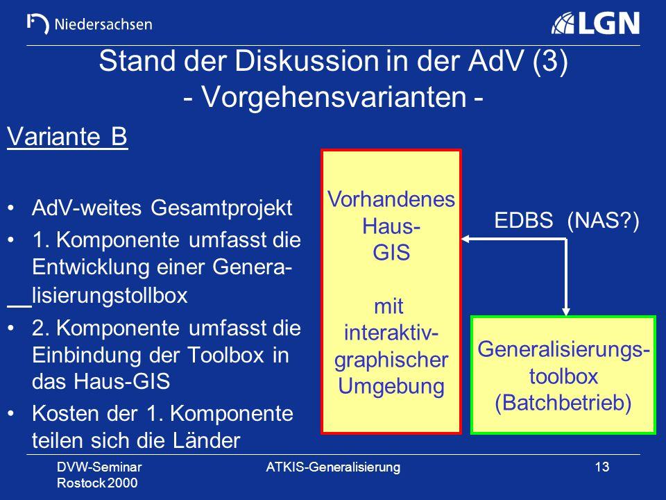 DVW-Seminar Rostock 2000 ATKIS-Generalisierung13 Stand der Diskussion in der AdV (3) - Vorgehensvarianten - Variante B AdV-weites Gesamtprojekt 1. Kom
