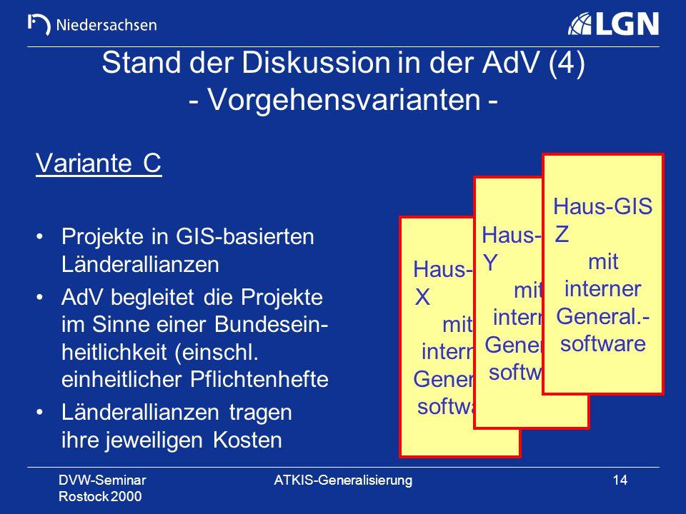 DVW-Seminar Rostock 2000 ATKIS-Generalisierung14 Stand der Diskussion in der AdV (4) - Vorgehensvarianten - Variante C Projekte in GIS-basierten Lände