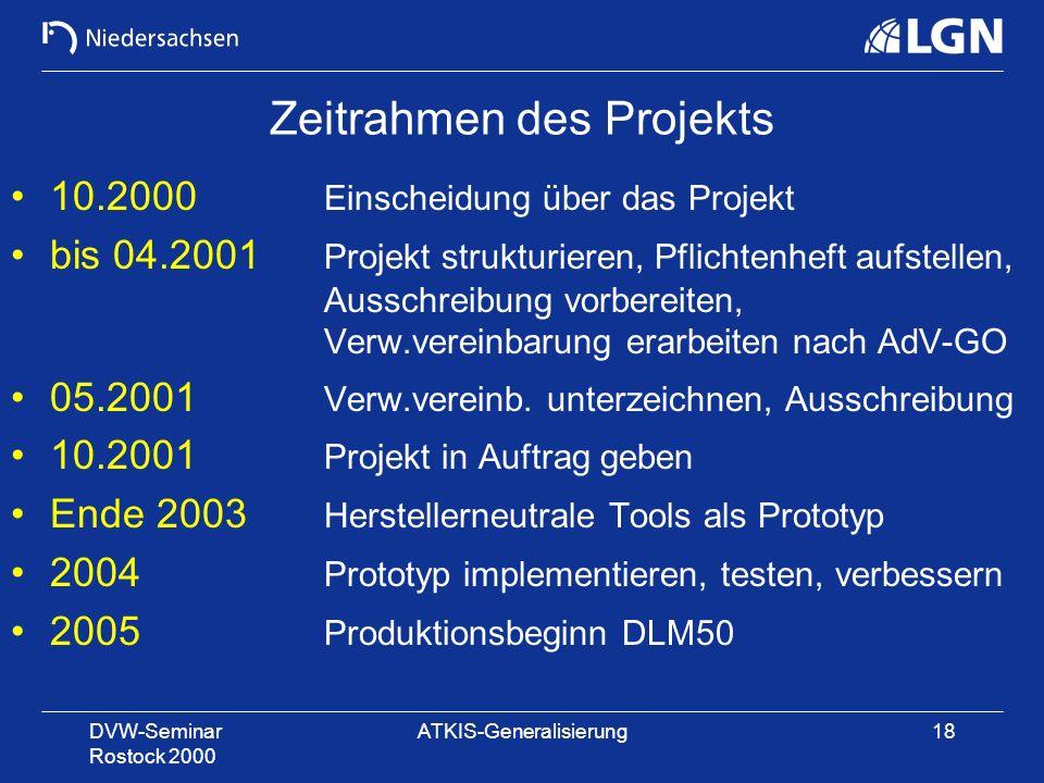 DVW-Seminar Rostock 2000 ATKIS-Generalisierung18 Zeitrahmen des Projekts 10.2000 Einscheidung über das Projekt bis 04.2001 Projekt strukturieren, Pfli