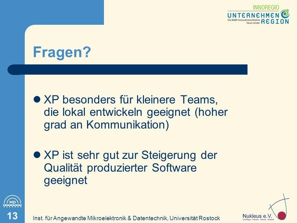 Inst. für Angewandte Mikroelektronik & Datentechnik, Universität Rostock 13 Fragen.